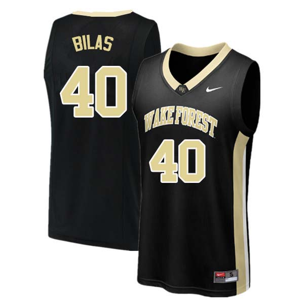 Men #40 Anthony Bilas Wake Forest Demon Deacons College Basketball Jerseys Sale-Black