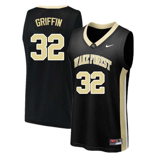 Men #32 Rod Griffin Wake Forest Demon Deacons College Basketball Jerseys Sale-Black