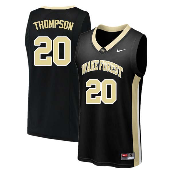 Men #20 Terrence Thompson Wake Forest Demon Deacons College Basketball Jerseys Sale-Black