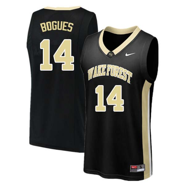 Men #14 Tyrone Bogues Wake Forest Demon Deacons College Basketball Jerseys Sale-Black