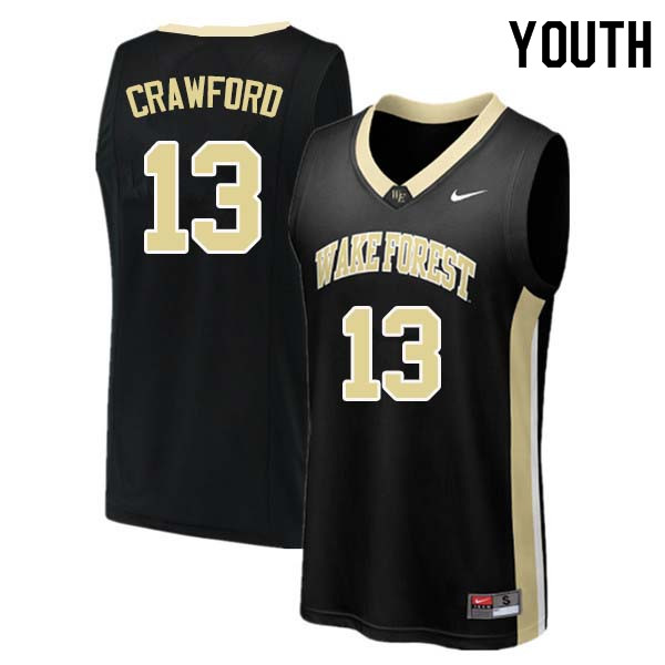 Youth #13 Bryant Crawford Wake Forest Demon Deacons College Basketball Jerseys Sale-Black