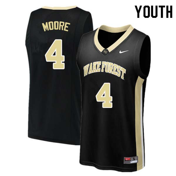 Youth #4 Doral Moore Wake Forest Demon Deacons College Basketball Jerseys Sale-Black