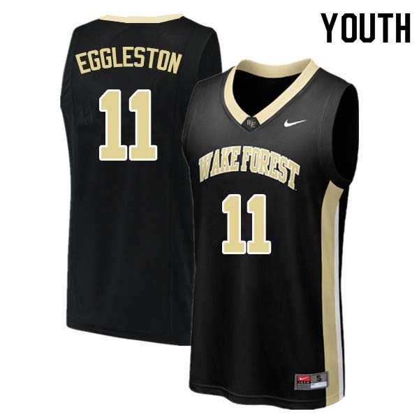 Youth #11 Melo Eggleston Wake Forest Demon Deacons College Basketball Jerseys Sale-Black