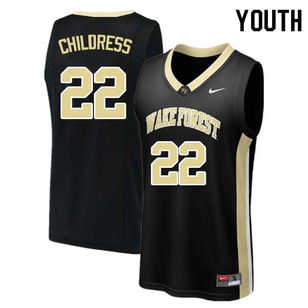 Youth #22 Randolph Childress Wake Forest Demon Deacons College Basketball Jerseys Sale-Black