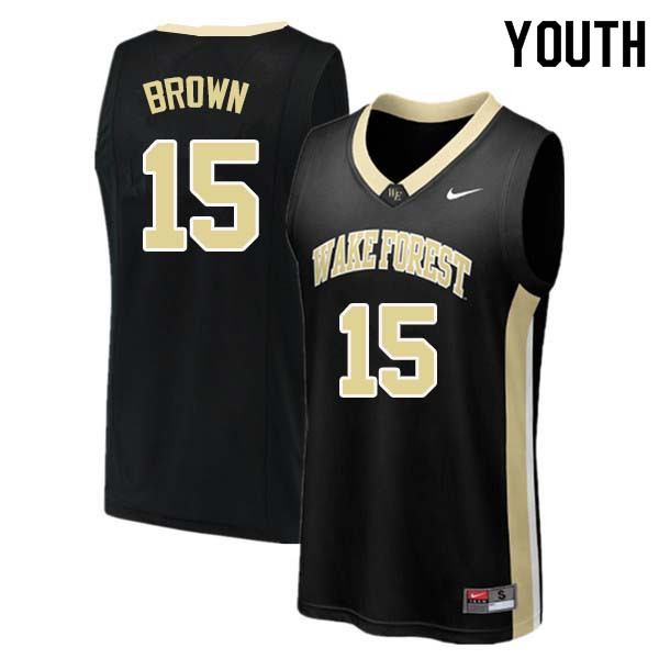 Youth #15 Skip Brown Wake Forest Demon Deacons College Basketball Jerseys Sale-Black