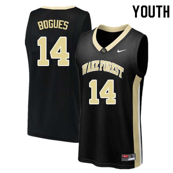 Youth #14 Tyrone Bogues Wake Forest Demon Deacons College Basketball Jerseys Sale-Black